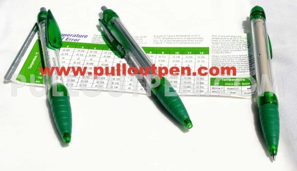 Custom made pull out parameter chart pens