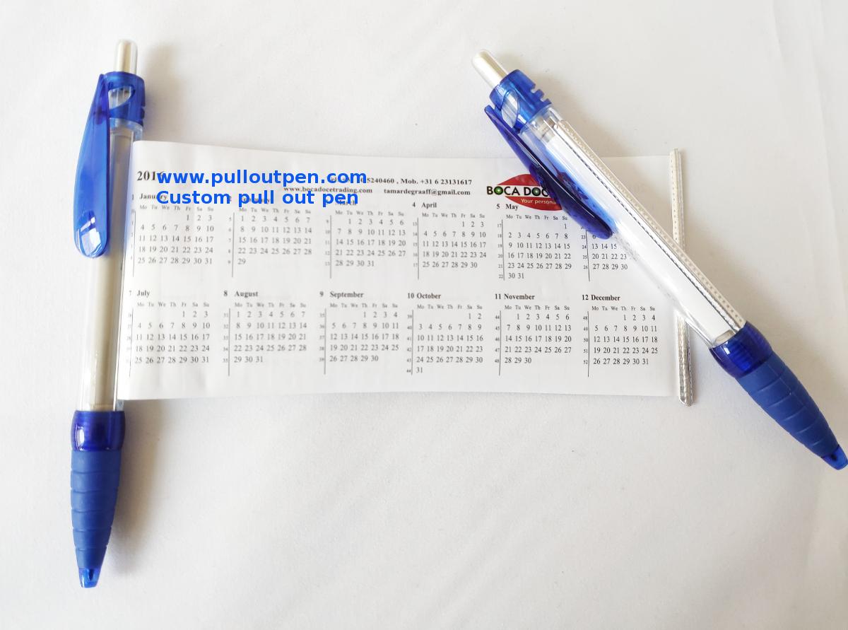 custom pullout banner calendar pens